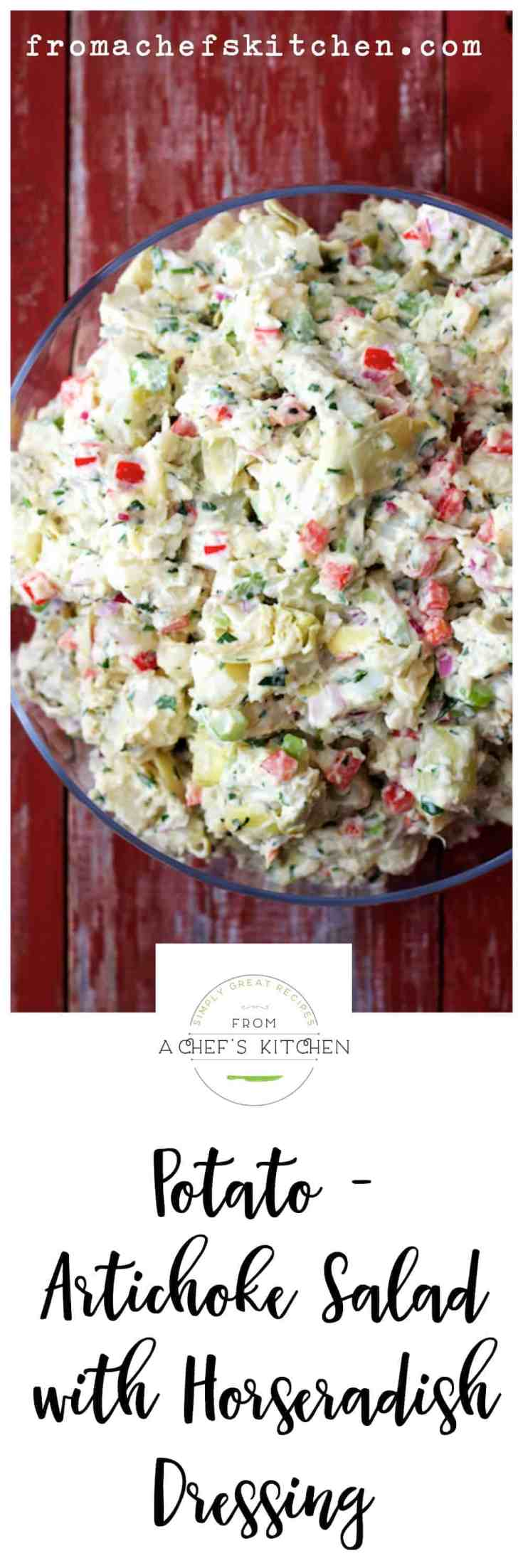 Potato Artichoke Salad with Horseradish Dressing is a zippy twist on potato salad! Potatoes and horseradish are a match made in heaven! #potatosalad #picnic #summerfood #picnicfoods