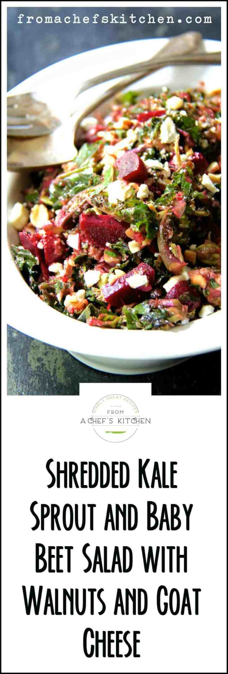Shredded Kale Sprout and Baby Beet Salad with Walnuts and Goat Cheese is an easy, elegant salad that's perfect as part of a casual lunch or elegant dinner. A homemade balsamic vinaigrette pulls it all together for flavors that rock! #kale #kalesalad #salad #beet #beetsalad #goatcheese #walnuts