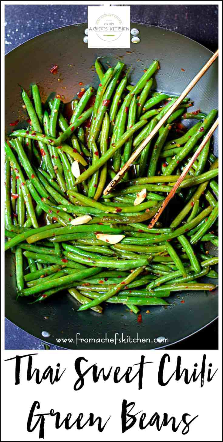 Thai Sweet Chili Green Beans will rock your vegetable world!  You'll love this quick and easy way to enjoy green beans that's a little spicy and delicious! #greenbeans #thai #thaifood #vegetable #vegetablesidedish