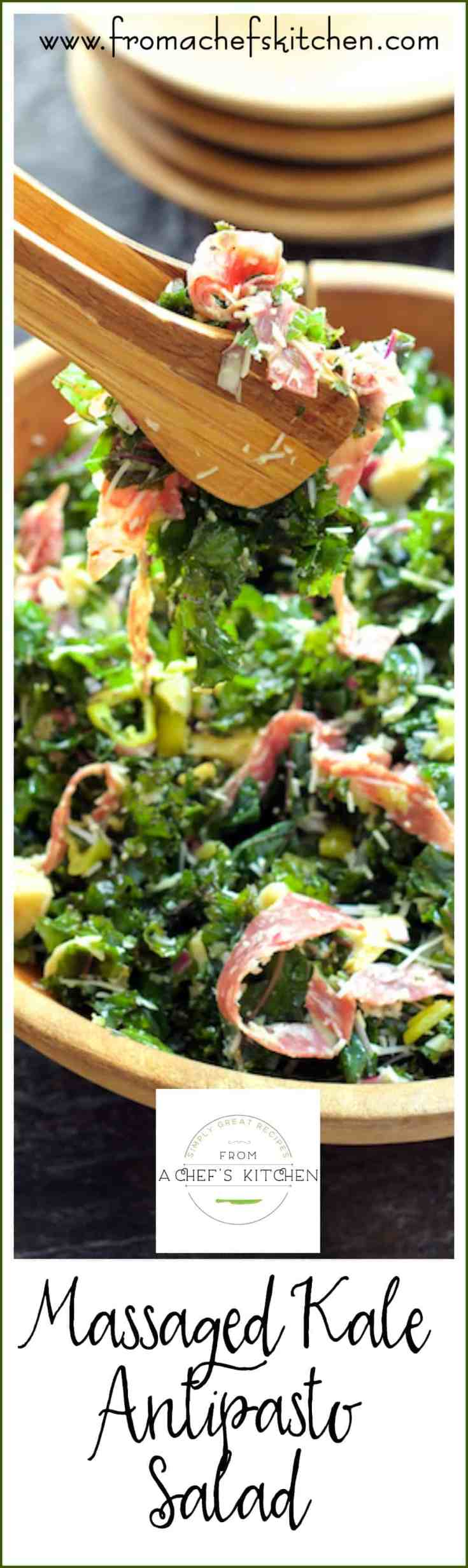 Massaged Kale Antipasto Salad is easy, wholesome and you may already have everything on hand to make this delicious salad!  If you've been wanting to try kale, this salad will get you hooked! #kale #kalesalad #antipastosalad #kaleaantipastosalad #Italian #Italianfood