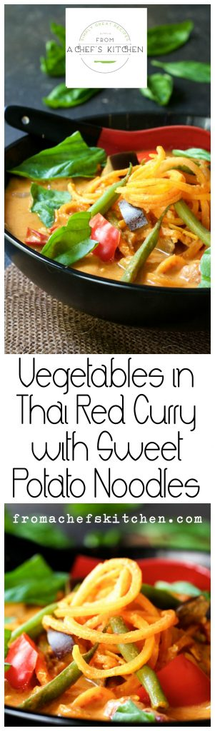 Spicy and healthy! Vegetables in Thai Red Curry with Sweet Potato Noodles