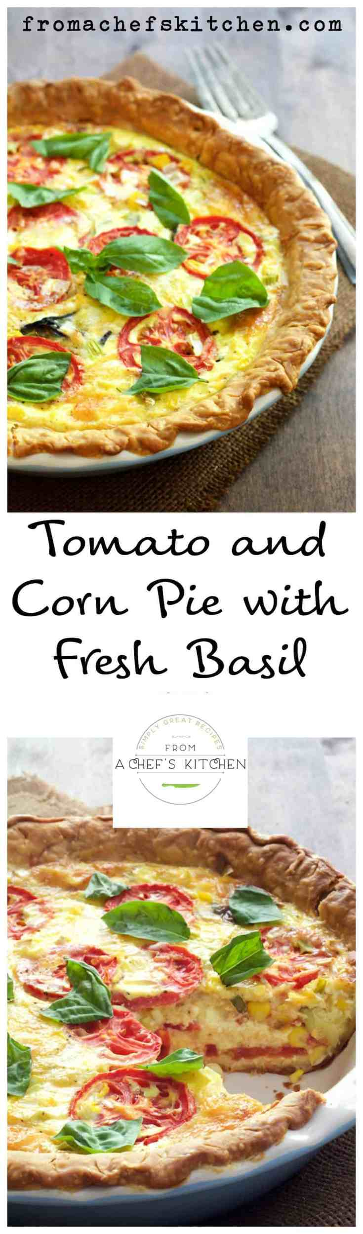 Tomato and Corn Pie with Fresh Basil is a twist on classic tomato pie.  It's the ultimate Southern-inspired summertime quiche! #tomato #tomatopie #corn #basil #southernfood #quiche