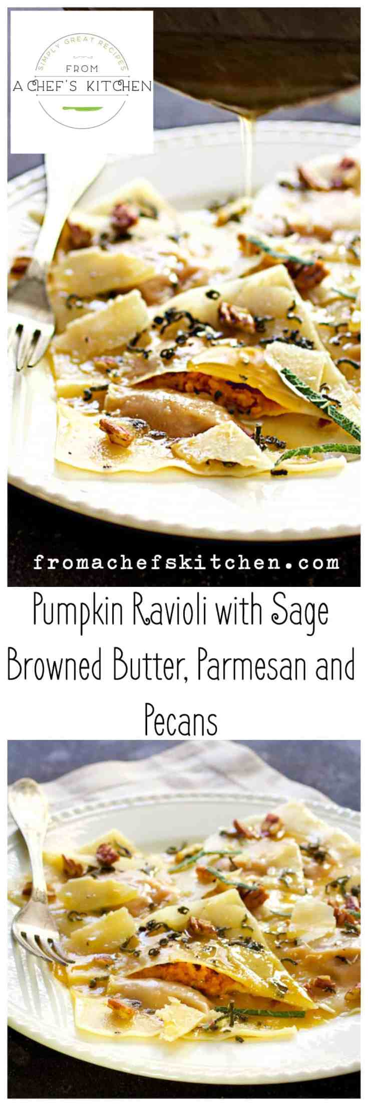Pumpkin Ravioli with Sage Browned Butter, Parmesan and Pecans uses wonton wrappers and canned pumpkin for a lovely and easy fall-inspired dinner! #pumpkin #pumpkinravioli #pasta #pumpkinpasta #brownbutter #parmesan #pecans