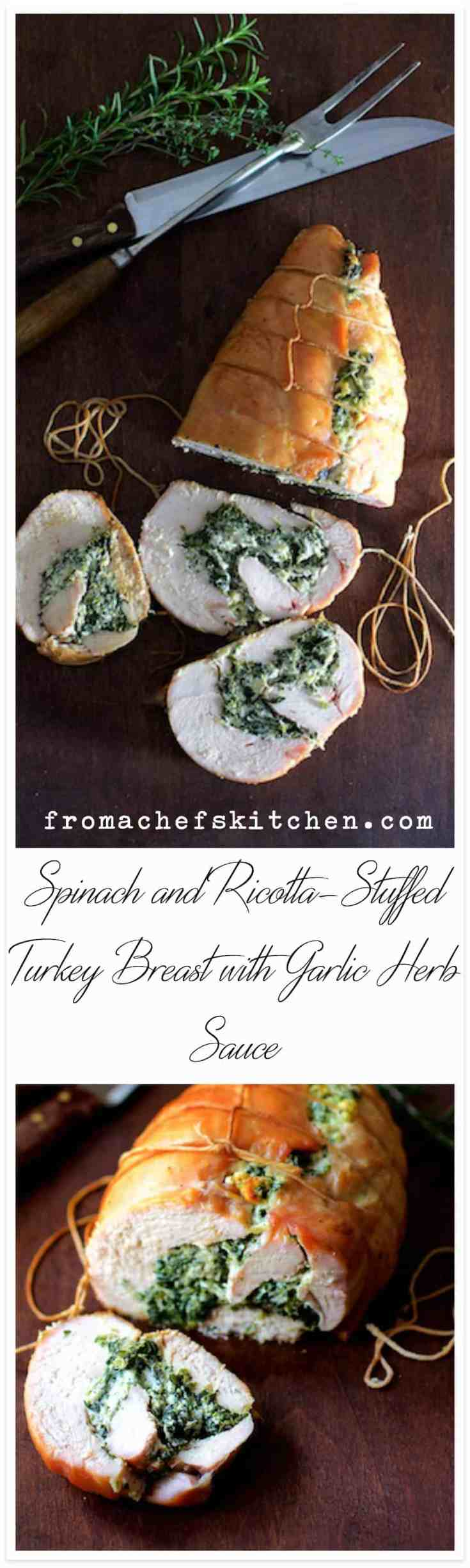 Spinach and Ricotta Stuffed Turkey Breast with Garlic Herb Sauce is perfect for a small-scale Thanksgiving or a nice family dinner any time of year! #turkey #turkeybreast #stuffedturkeybreast #Thanksgiving #Thanksgivingrecipes #Christmas #Christmasrecipes