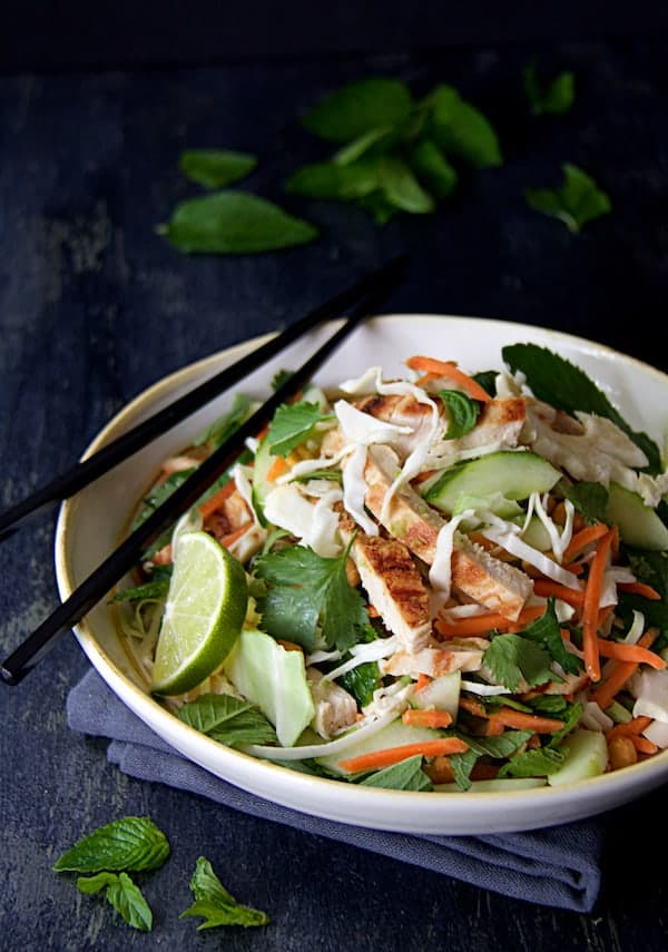 Vietnamese Chicken Salad - Close-up shot of salad in white bowl with black chopsticks on dark blue background
