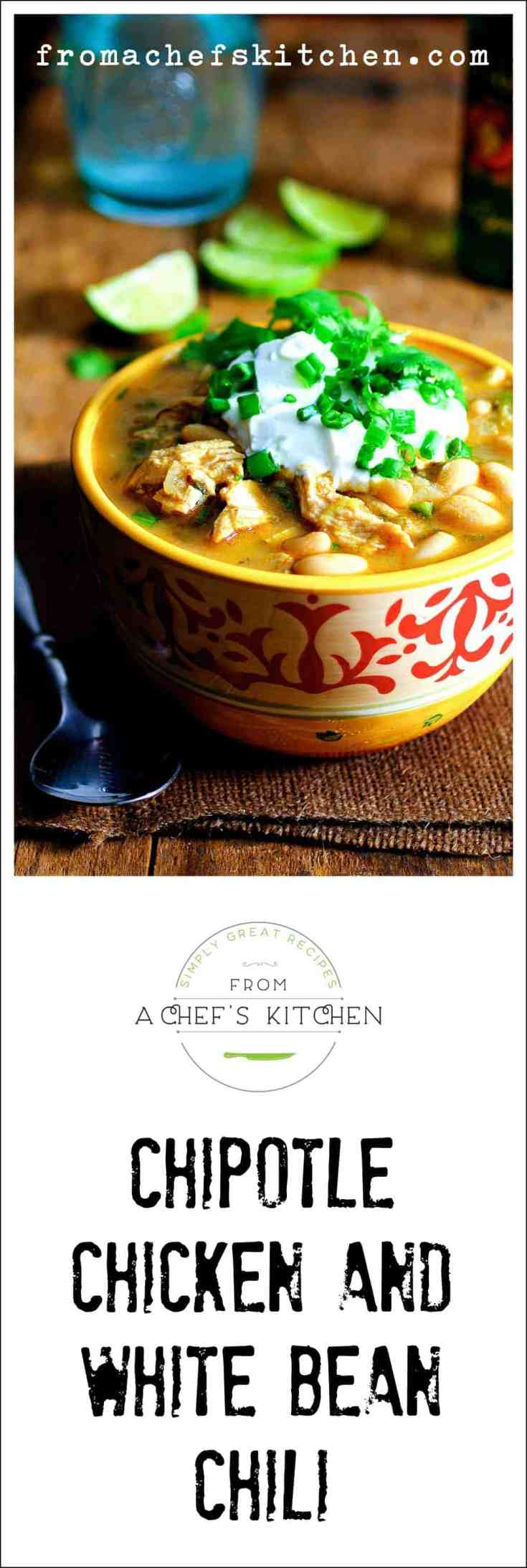 Chipotle Chicken and White Bean Chili packs a lot of flavor for not a lot of labor! Take a pot of this to a football get-together and it will be the hit of the party! #chili #chickenchili #chipotlechicken #soup #stew #whitebean #southwesternfood #Mexicanfood