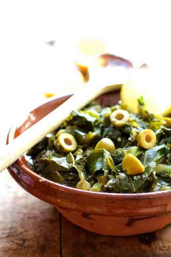 Braised Greens with Olives and Lemon
