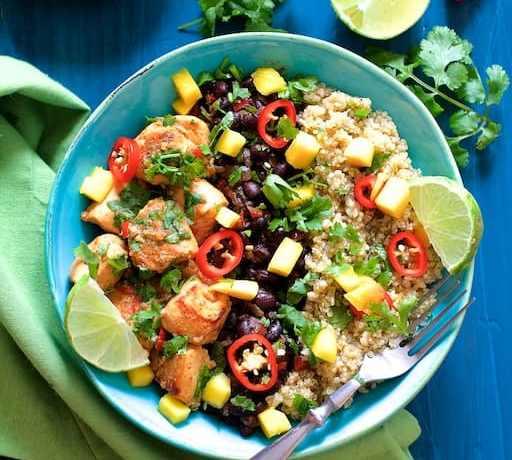 Cuban Chicken Black Bean and Quinoa Bowls