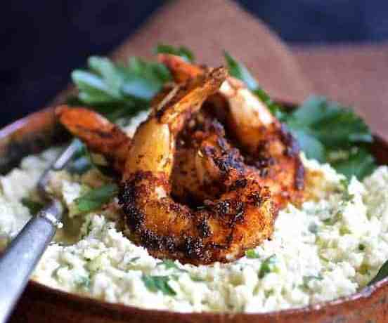Cauliflower Grits with Gouda Cheese and Blackened Shrimp