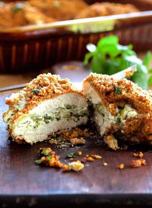 Green Chile Goat Cheese Stuffed Chicken Breasts