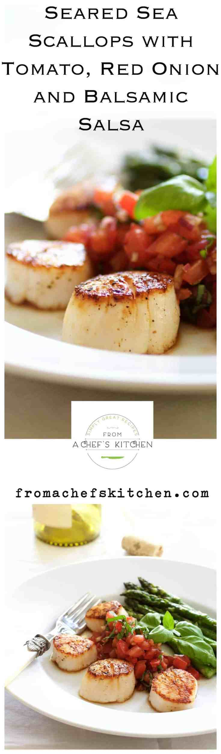 Seared Sea Scallops with Tomato, Red Onion and Balsamic Salsa is a light, elegant, summery restaurant-quality dish for two! #scallops #seascallops #tomato #tomatosalsa #seafood