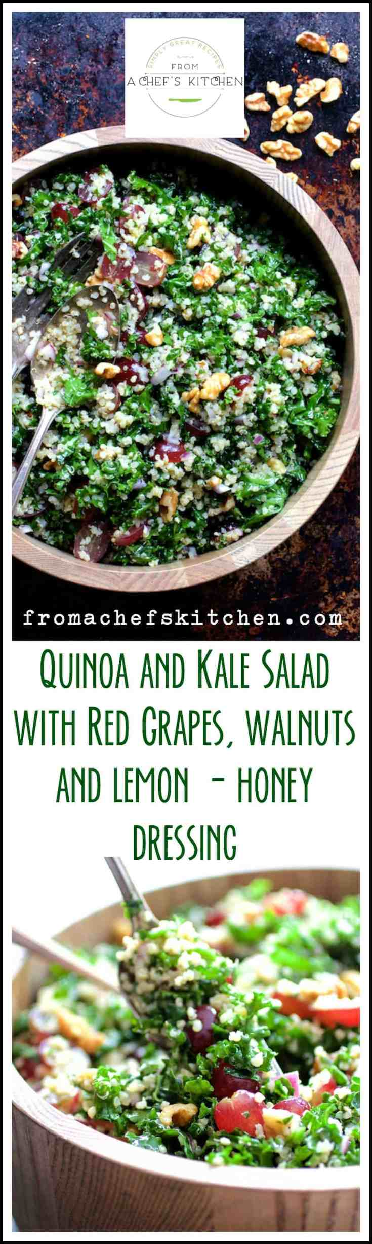 Quinoa and Kale Salad with Red Grapes, Walnuts and Lemon Honey Dressing is a delicious way to enjoy these popular superfoods!  It keeps for several days so it's perfect for meal prep and lunches for a busy week. #quinoa #quinoasalad #kale #kalesalad #vegetariansalad #vegansalad #vegan