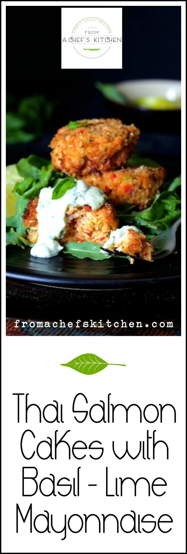 Thai Salmon Cakes with Basil Lime Mayonnaise is a combination of two of summer's best--healthful salmon and fresh basil! They're easy to make and freeze great! #thaifood #salmonrecipes #salmoncakes