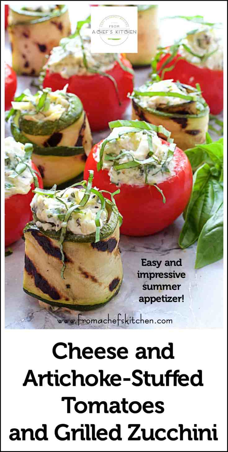 Cheese and Artichoke Stuffed Tomatoes and Grilled Zucchini is a light, easy and elegant appetizer perfect for any summer occasion. #appetizer #snack #tomatoes #artichoke #zucchini