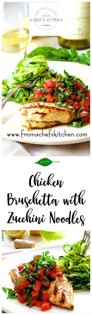 Chicken Bruschetta with Zucchini Noodles is the perfect summer dish! Grilled chicken, fresh tomatoes, basil and zucchini!
