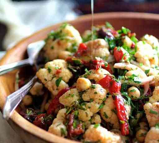 Warm Roasted Cauliflower and Chickpea Salad