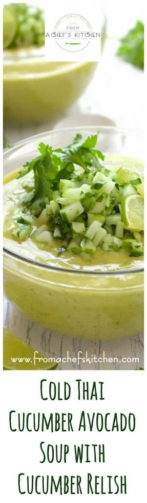 Cold Thai Cucumber Avocado Soup is as refreshing as it gets on a hot summer day!