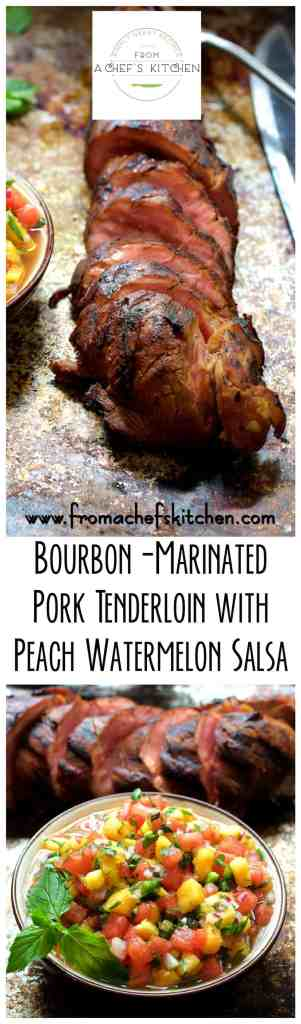 Just peachy and so Southern! Bourbon-Marinated Pork Tenderloin with Peach - Watermelon Salsa is a lovely summer dinner for two!