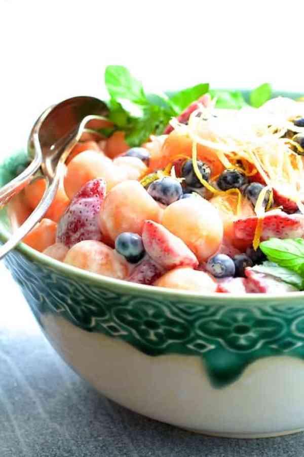 Summer Fruit Salad with Orange Yogurt Vanilla Dressing