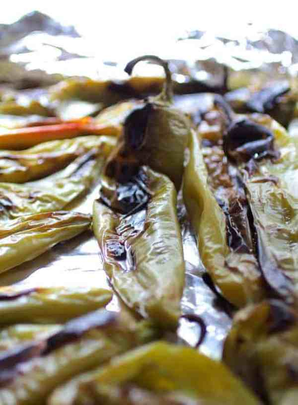 Roasted Hatch green chiles before being peeled