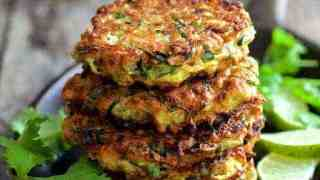 Whole Grain Zucchini Jalapeno Fritters with Cilantro Lime Sour Cream