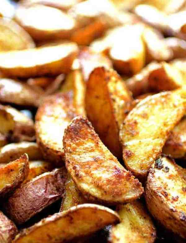 Perfect Roasted Potato Wedges - Close-up shot of potato wedges