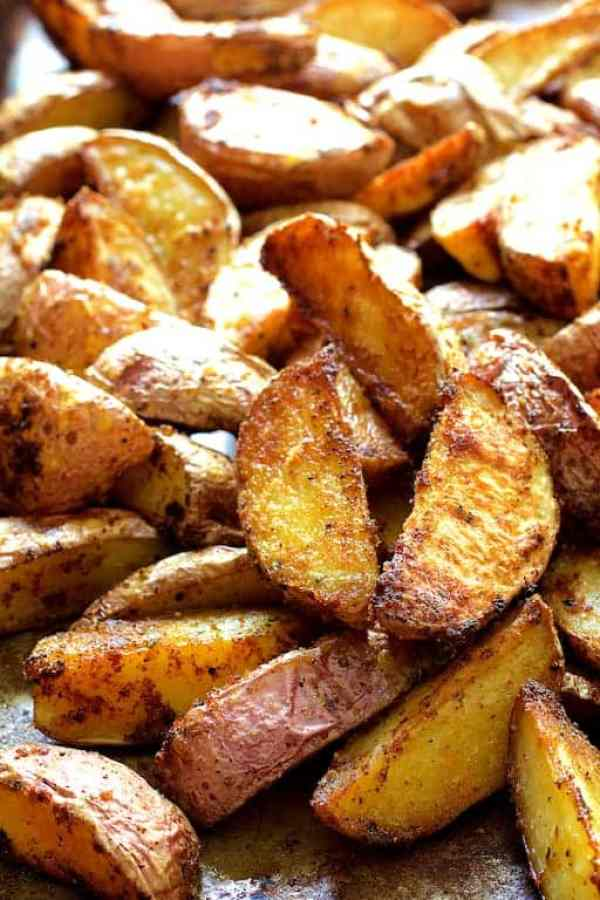 Perfect Roasted Potato Wedges - Another close-up shot of potato wedges