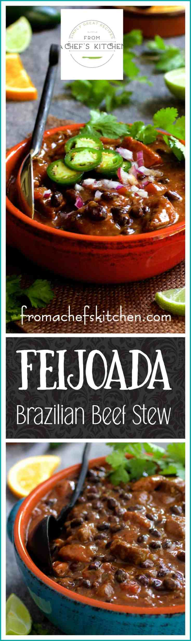 Feijoada or Brazilian Beef Stew is the national dish of Brazil.  If made traditionally, it can take a day or two to make.  A pressure cooker makes this version much faster! #beef #beefstew #feijoada #brazilianbeefstew #brazilianfood