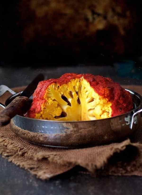 Brined Whole Roasted Tandoori Cauliflower
