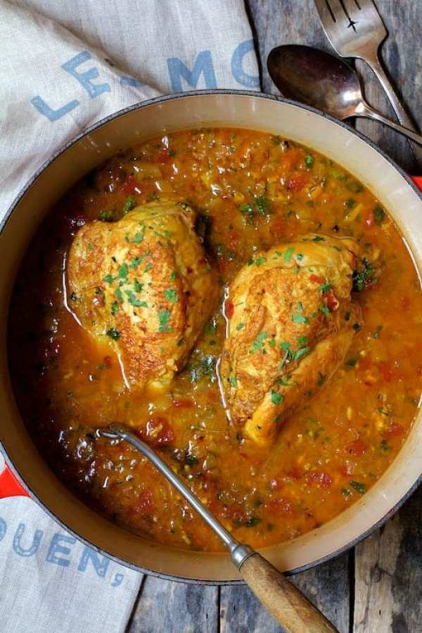 Chicken Bouillabaisse - Overhead shot of chicken in Dutch oven