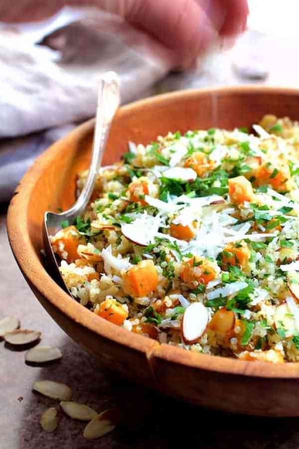 Lemony Quinoa with Butternut Squash Almonds and Parmesan Cheese