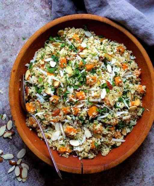 Lemony Quinoa with Roasted Butternut Squash Almonds and Parmesan Cheese