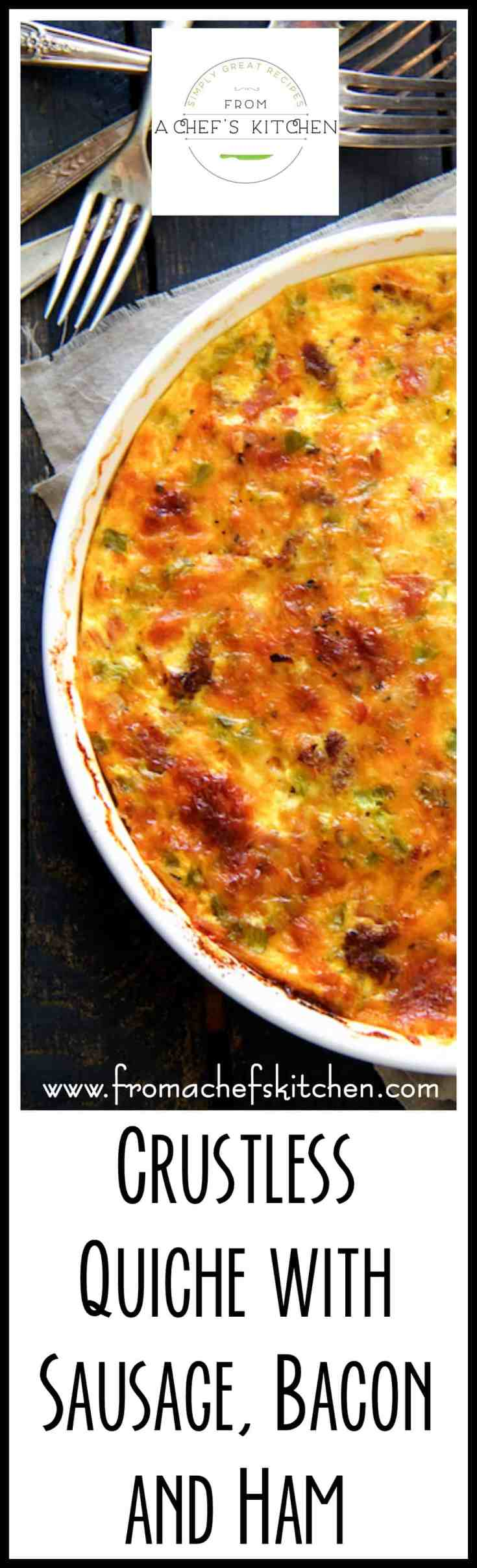 Crustless Quiche with Sausage, Bacon and Ham is ideal for low-carb, keto or gluten-free diets. Best of all, going crustless is simply easier than fussing with a crust! #crustlessquiche #quiche #breakfast #brunch #lowcarb #keto #glutenfree #sausage #bacon #ham