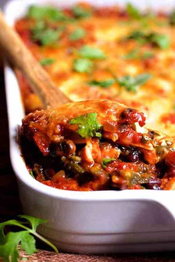 Mexican Chicken Poblano and Black Bean Tortilla Casserole