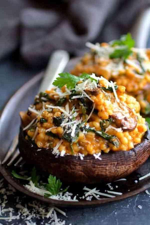 Barley Risotto Stuffed Portobello Mushrooms - Close-up shot