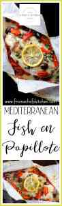 Mediterranean Fish en Papillote has all the classic flavors of that sunny region with tomatoes, olives, capers, garlic, olive oil, wine and lemon–all wrapped up in parchment paper parcels!
