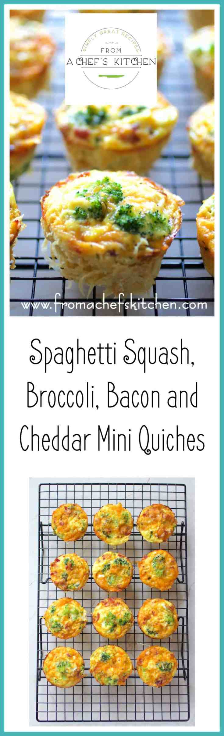 Spaghetti Squash, Broccoli, Bacon and Cheddar Mini Quiches are going to breathe some new life into your breakfast world!  They're low-carb and can be made ahead and reheated as needed.  #spaghettisquash #broccoli #miniquiche #quiche #lowcarb #breakfast