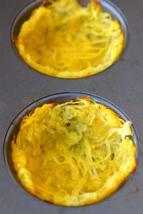 "Spaghetti squash ""crust"" in muffin pan after baking"