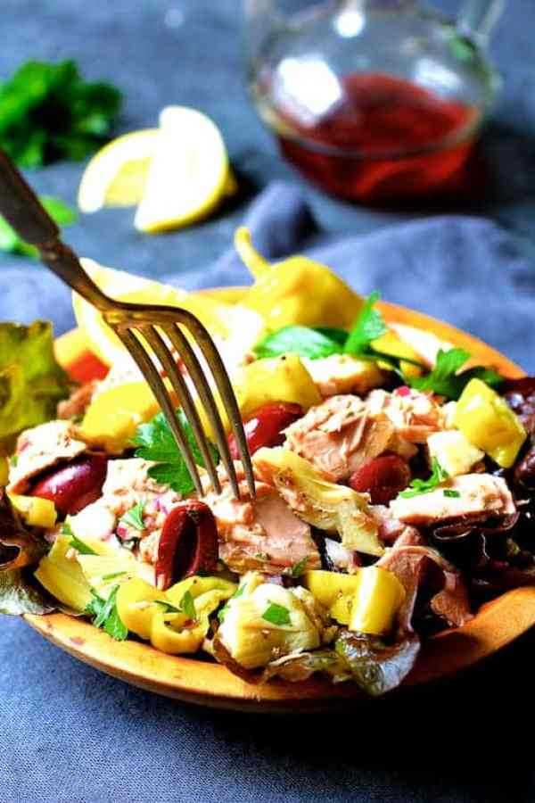 Quick Pantry Mediterranean Tuna Salad is quick, easy, light, heart-healthy, low-carb and sugar-free! It can be pulled together from items you probably already have in your pantry!