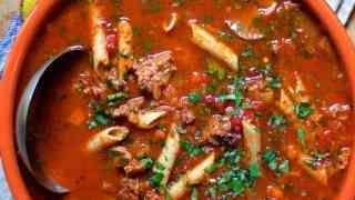 Spicy Italian Sausage Whole Grain Penne Pasta and Vegetable Soup