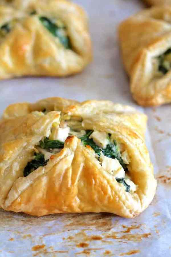 Chicken Spinach and Artichoke Puff Pastry Parcels - Close-up shot