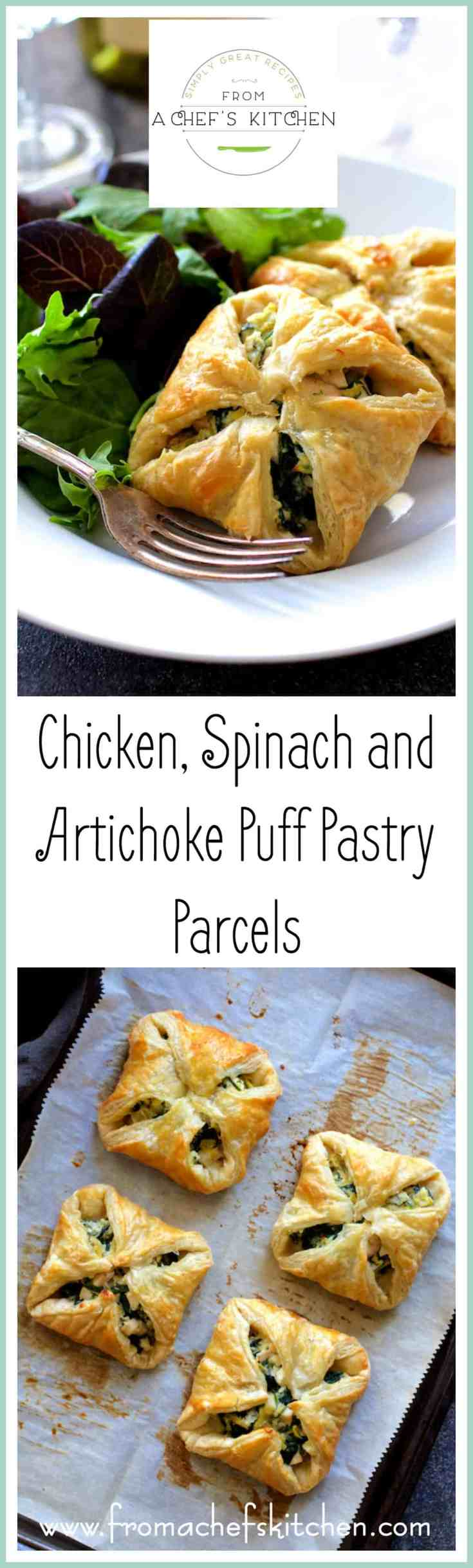 Chicken, Spinach and Artichoke Puff Pastry Parcels are super elegant and perfect for your spring special occasion! #puffpastry #appetizer #chicken #spinach #artichoke