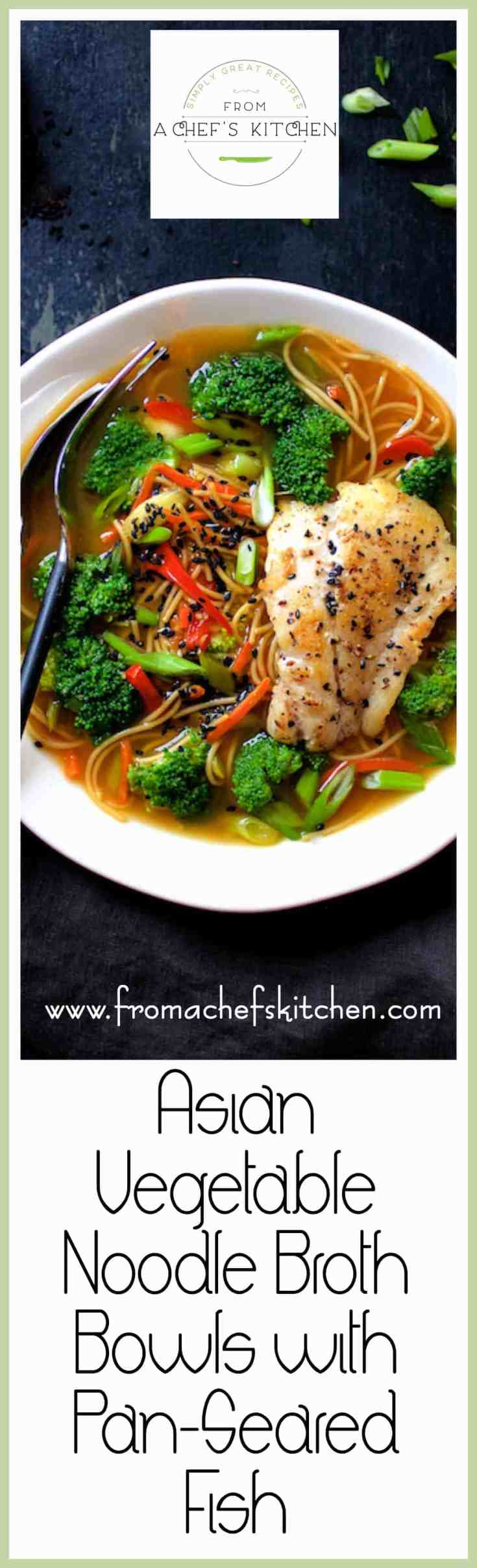 Asian Vegetable Noodle Broth Bowls with Pan Seared Fish are satisfying, healthful, light and versatile and a delicious dinner for two! #asianfood #vegetable #noodle #fish #healthyfood