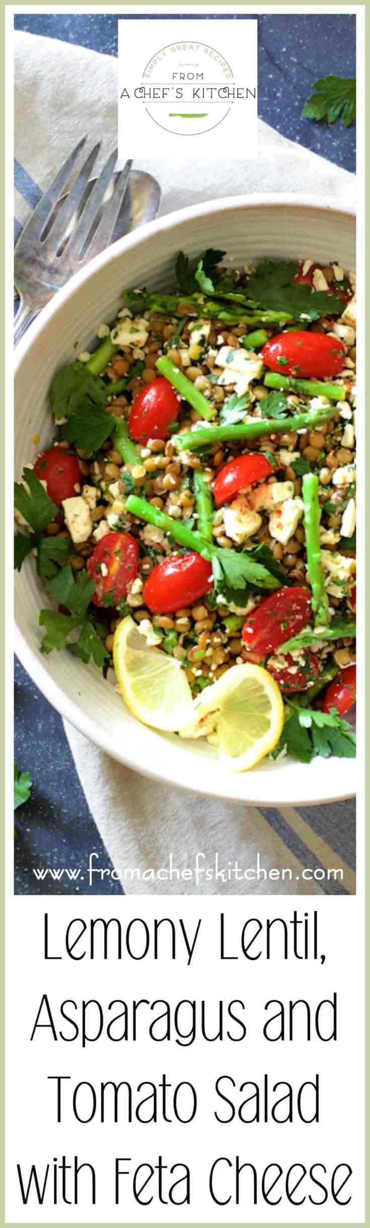 Lemony Lentil, Asparagus and Tomato Salad with Feta Cheese is light, healthful, perfect for a spring meal and will go with just about anything! #lentil #asparagus #tomato #Greekfood