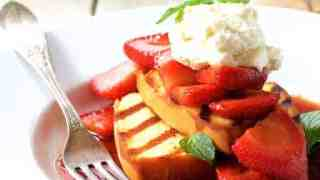 Grilled Pound Cake with Balsamic Macerated Strawberries and Mascarpone Cream