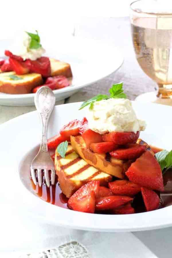 Grilled Pound Cake with Balsamic Mascerated Strawberries and Mascarpone Cream