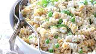 Whole Grain Pasta Salad with Cucumber Dressing Peas and Fresh Dill