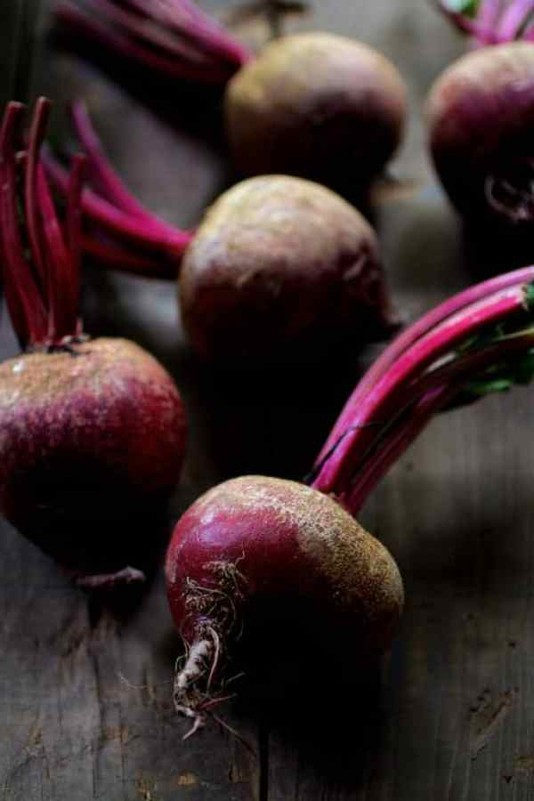 Roasted Hasselback Beets with Dill Dressing - Raw, uncooked red beets