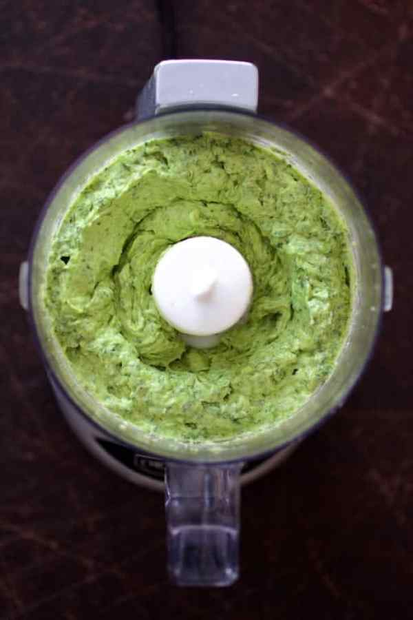 Shrimp in Avocado Butter - Overhead shot of avocado butter in mini food processor after blending