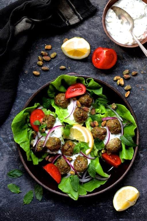 Turkish Turkey Meatball Lettuce Wraps with Tzatziki